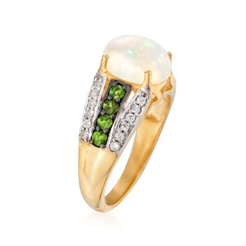 Opal and .50 ct. t.w. Multi-Stone Ring in 14kt Yellow Gold Over Sterling Silver, , default