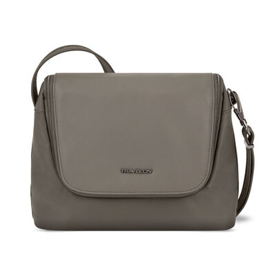 "Anti-Theft ""Addison"" East-West Brown Crossbody Bag"