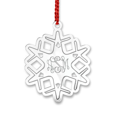 Sterling Silver Personalized Rhodium-Plated Snowflake Ornament, , default