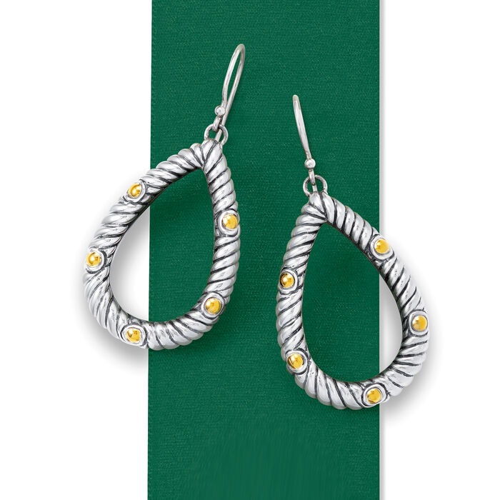 Oxidized Sterling Silver and 18kt Yellow Gold Open-Space Roped Teardrop Earrings