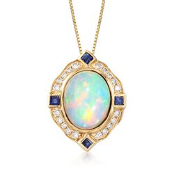 Opal and .20 ct. t.w. Sapphire Pendant Necklace With Diamonds in 14kt Yellow Gold, , default