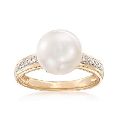 Cultured Pearl and .11 ct. t.w. Diamond Ring in 14kt Yellow Gold, , default