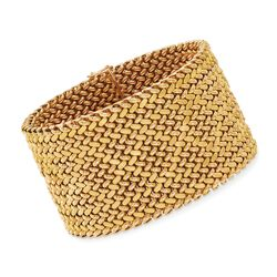 "C. 1960 Vintage 18kt Yellow Gold Wide Mesh Bracelet. 8"", , default"