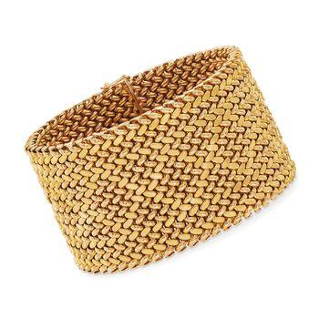 "C. 1960 Vintage 18kt Yellow Gold Wide Mesh Bracelet. 8"", , default"
