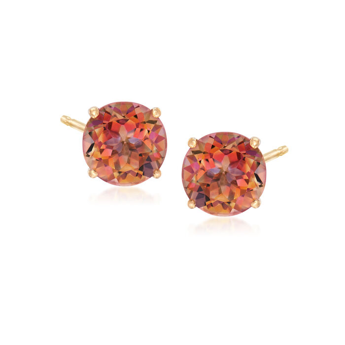 3.00 ct. t.w. Pink Twilight Topaz Post Earrings in 14kt Yellow Gold