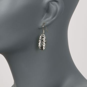 Sterling Silver Cobblestone Oval Drop Earrings with Black Epoxy , , default