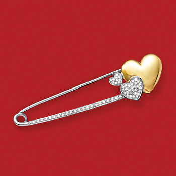 .15 ct. t.w. Diamond Heart Safety Pin in Sterling Silver and 14kt Yellow Gold, , default