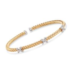 "Charles Garnier ""Bassano"" .25 ct. t.w. CZ X Station Cuff Bracelet in Two-Tone Sterling Silver. 7"", , default"
