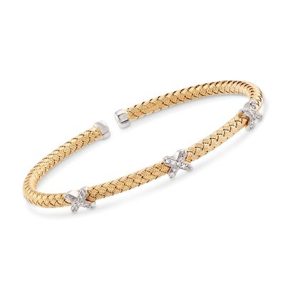 "Charles Garnier ""Bassano"" .25 ct. t.w. CZ X Station Cuff Bracelet in Two-Tone Sterling Silver, , default"