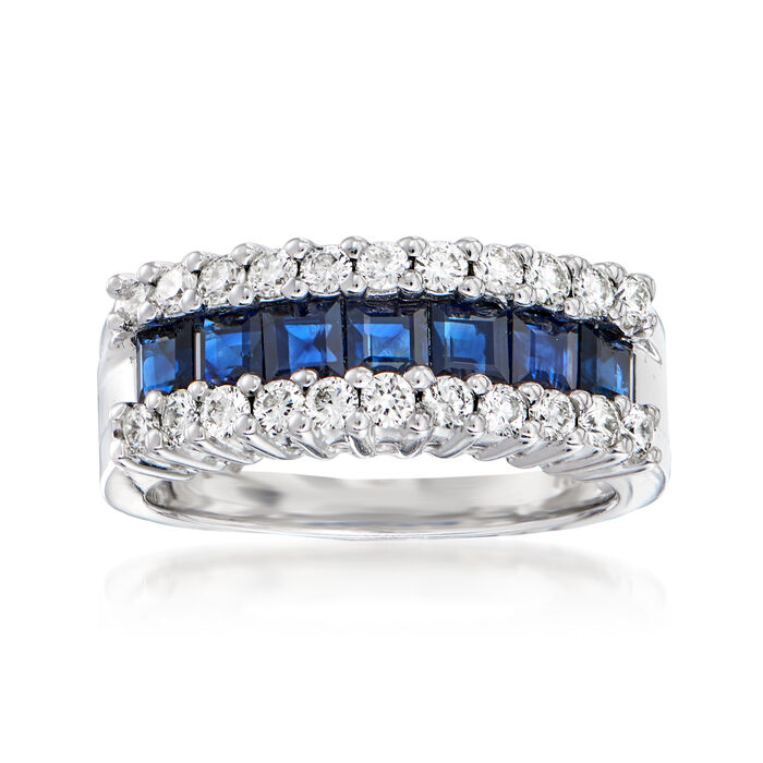 1.40 ct. t.w. Sapphire and .66 ct. t.w. Diamond Ring in 14kt White Gold