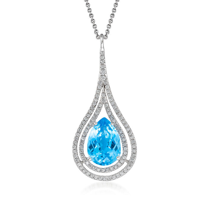 C. 2000 Vintage 4.30 Carat Blue Topaz and .50 ct. t.w. Diamond Pendant Necklace in 14kt White Gold