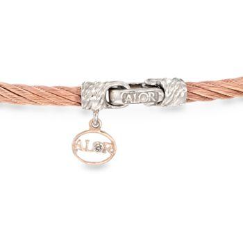 "ALOR ""Classique"" Rose Cable Station Bracelet With Diamond Accent and 18kt Gold. 7"", , default"