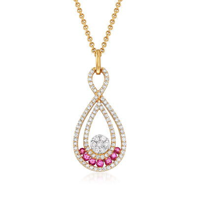 C. 1990 Vintage Giantti .45 ct. t.w. Diamond and .15 ct. t.w. Pink Sapphire Pendant Necklace in 18kt Yellow Gold, , default