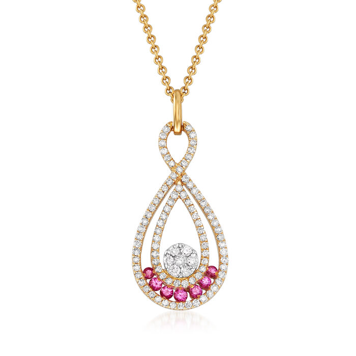 """C. 1990 Vintage Giantti .45 ct. t.w. Diamond and .15 ct. t.w. Pink Sapphire Pendant Necklace in 18kt Yellow Gold. 15.75"""", , default"""