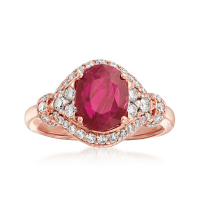 2.20 Carat Ruby and .58 ct. t.w. Diamond Ring in 14kt Rose Gold