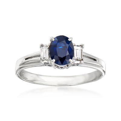 C. 1970 Vintage .76 Carat Sapphire and .21 ct. t.w. Diamond Ring in Platinum