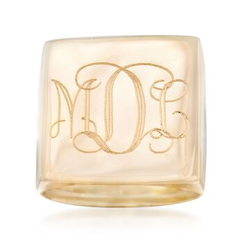 Italian 14kt Yellow Gold Monogram Square-Top Ring, , default