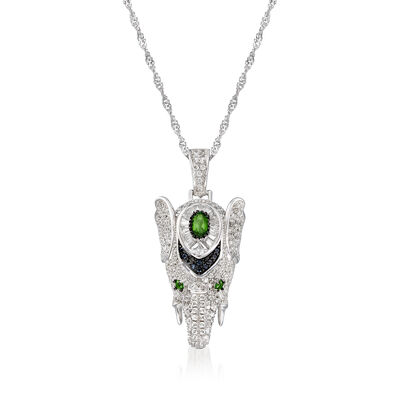 4.47 ct. t.w. Multi-Gemstone Elephant Pendant Necklace in Sterling Silver, , default