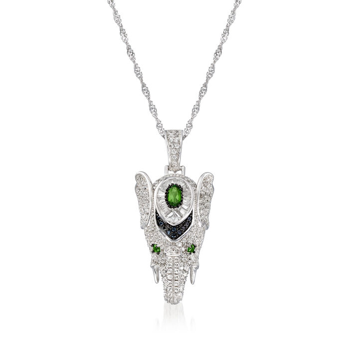 4.47 ct. t.w. Multi-Gemstone Elephant Pendant Necklace in Sterling Silver
