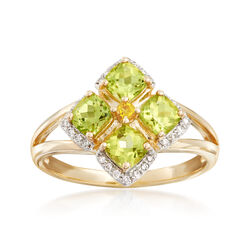 1.30 ct. t.w. Peridot and .10 ct. t.w. Diamond Ring With Citrine Accent in 14kt Yellow Gold, , default