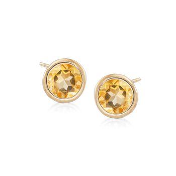 1.60 ct. t.w. Bezel-Set Citrine Stud Earrings in 18kt Gold Over Sterling , , default