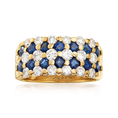 C. 1990 Vintage 1.12 ct. t.w. Sapphire and 1.06 ct. t.w. Diamond Multi-Row Ring in 14kt Yellow Gold, , default