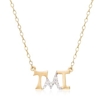 "14kt Yellow Gold ""Tmi"" Necklace With Diamond Accents. 18"", , default"