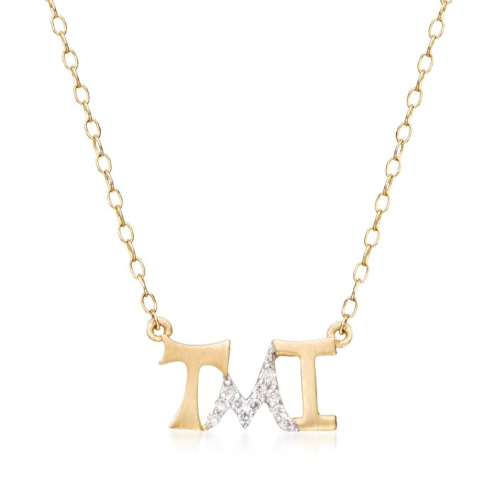 """14kt Yellow Gold """"Tmi"""" Necklace with Diamond Accents. 18"""", , default"""