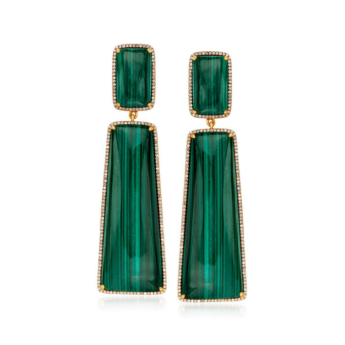 Malachite and .89 ct. t.w. Diamond Drop Earrings in 14kt Yellow Gold