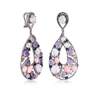 Pink and Purple Multi-Stone Drop Earrings With 2.40 ct. t.w. White Topaz in Sterling Silver, , default