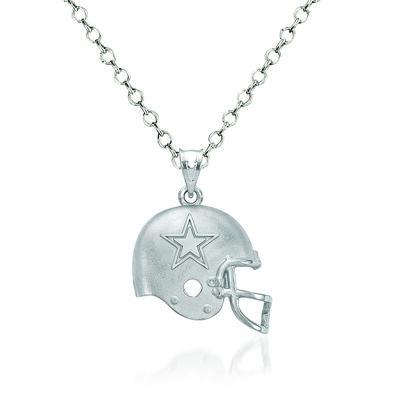 "Sterling Silver Dallas Cowboys Football Helmet Logo Pendant Necklace. 18"", , default"