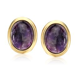 Italian 55.00 ct. t.w. Cabochon Amethyst Statement Earrings in 18kt Gold Over Sterling, , default