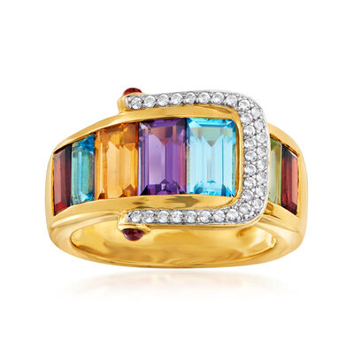 4.20 ct. t.w. Multi-Gemstone Buckle Ring in 18kt Gold Over Sterling