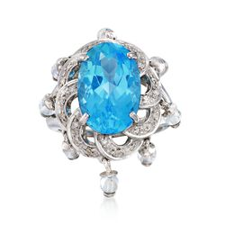 C. 2000 Vintage 10.10 ct. t.w. Blue Topaz and .16 ct. t.w. Diamond Ring in 14kt White Gold, , default