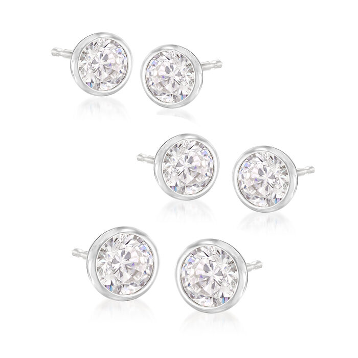 2.50 ct. t.w. CZ Jewelry Set: Three Pairs of Stud Earrings in Sterling Silver