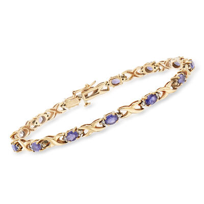 C. 1990 Vintage 1.95 ct. t.w. Iolite and .20 ct. t.w. Diamond Bracelet in 14kt Yellow Gold, , default