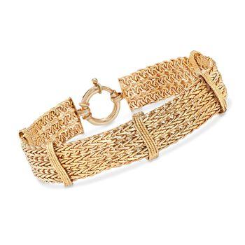 14kt Gold Over Sterling Multi-Row Wheat Bracelet, , default