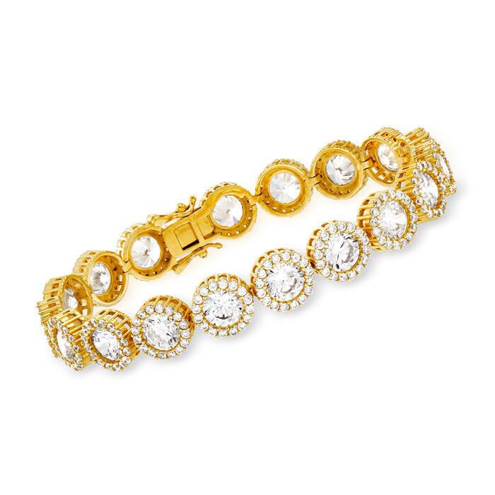 """22.30 ct. t.w. CZ Halo Bracelet in 18kt Gold Over Sterling. 7.25"""", , default"""