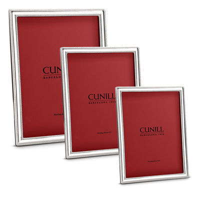Cunill Italian Sterling Silver Narrow Pearl Picture Frame, , default