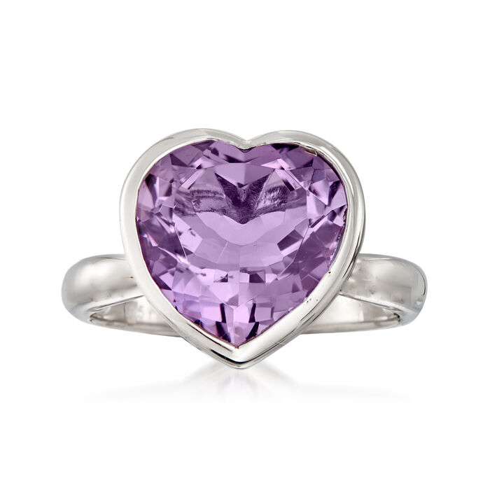 5.50 Carat Amethyst Heart Ring in Sterling Silver