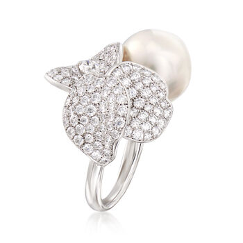 Mikimoto 13mm A+ South Sea Pearl and 3.42 ct. t.w. Diamond Flower Ring in 18kt White Gold. Size 6.5, , default