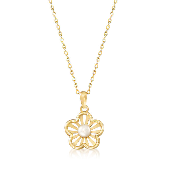 Child's 4.5mm Cultured Pearl Flower Pendant Necklace in 14kt Yellow Gold. 15""