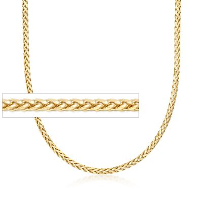 3.2mm 14kt Yellow Gold Franco Wheat Chain Necklace, , default
