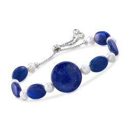 Lapis and 6.5-7mm Cultured Pearl Bolo Bracelet in Sterling Silver , , default