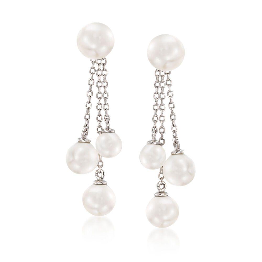 5 7mm S Pearl Jewelry Set Earrings And Tel Earring Jackets In Sterling Silver