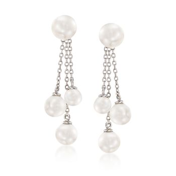 5-7mm Shell Pearl Jewelry Set: Earrings and Tassel Earring Jackets in Sterling Silver, , default
