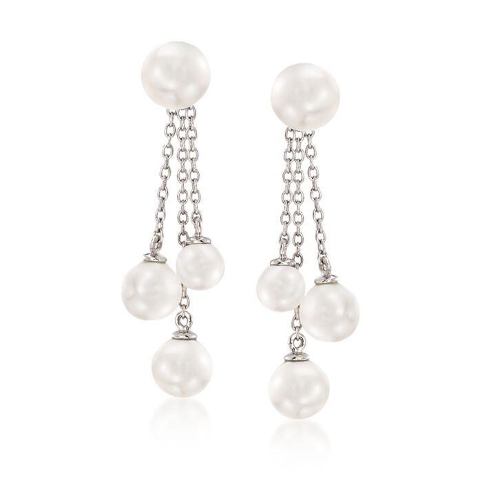 5-7mm Shell Pearl Jewelry Set: Earrings and Tassel Earring Jackets in Sterling Silver, , default