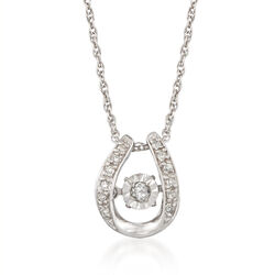 """Diamond Accented """"U"""" Shape Pendant Necklace in Sterling Silver. 18"""", , default"""