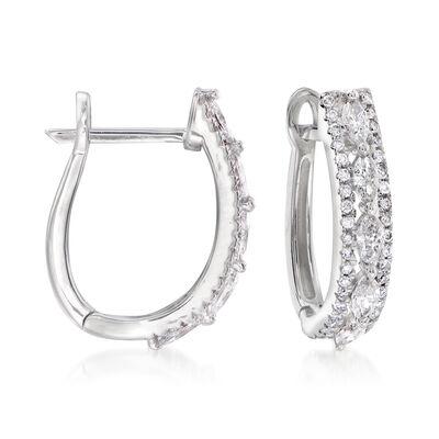 .62 ct. t.w. Diamond Hoop Earrings in 14kt White Gold