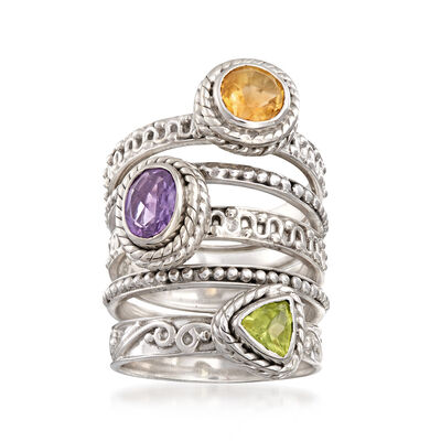 1.80 ct. wt. Multi-Stone Jewelry Set: Five Stackable Rings in Sterling Silver, , default